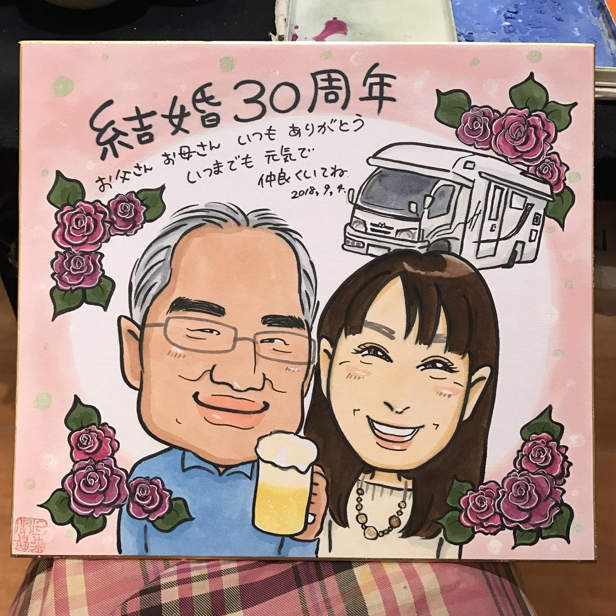 結婚30周年の似顔絵