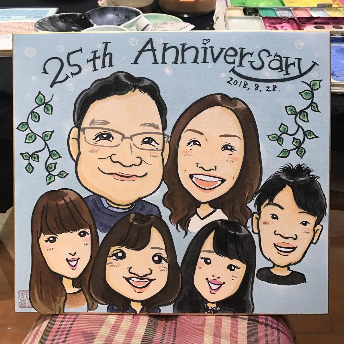 結婚25周年祝いの似顔絵