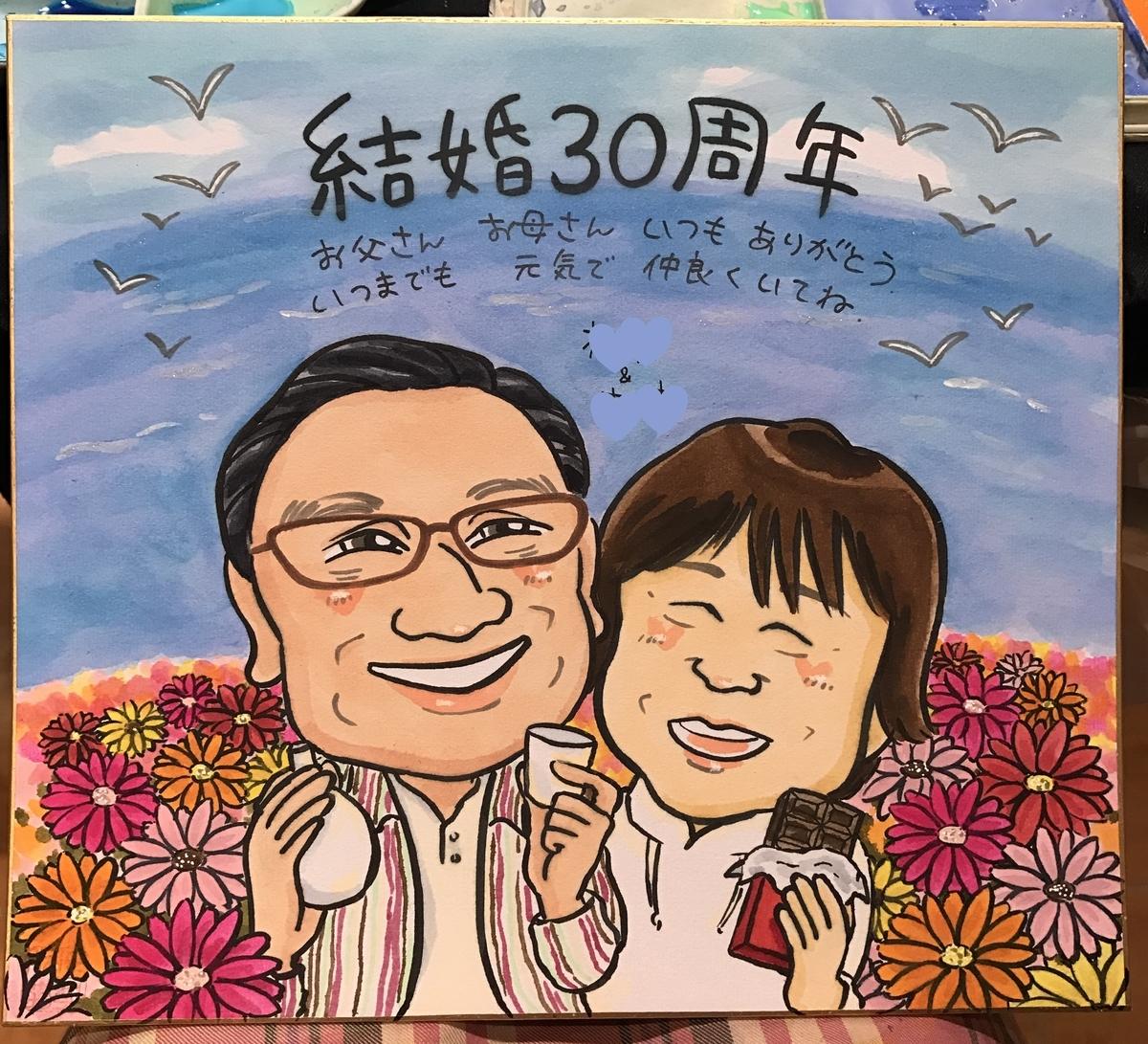 結婚30周年祝いの似顔絵ギフト