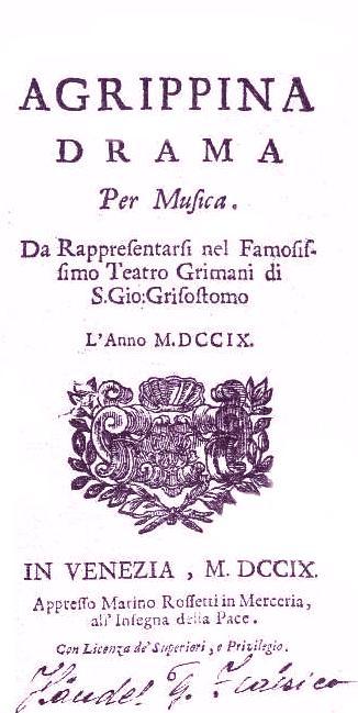 agrippina 1709