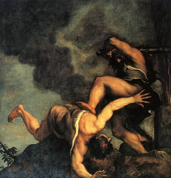 『アベルを殺すカイン』(1542/43)、ティツィアーノ