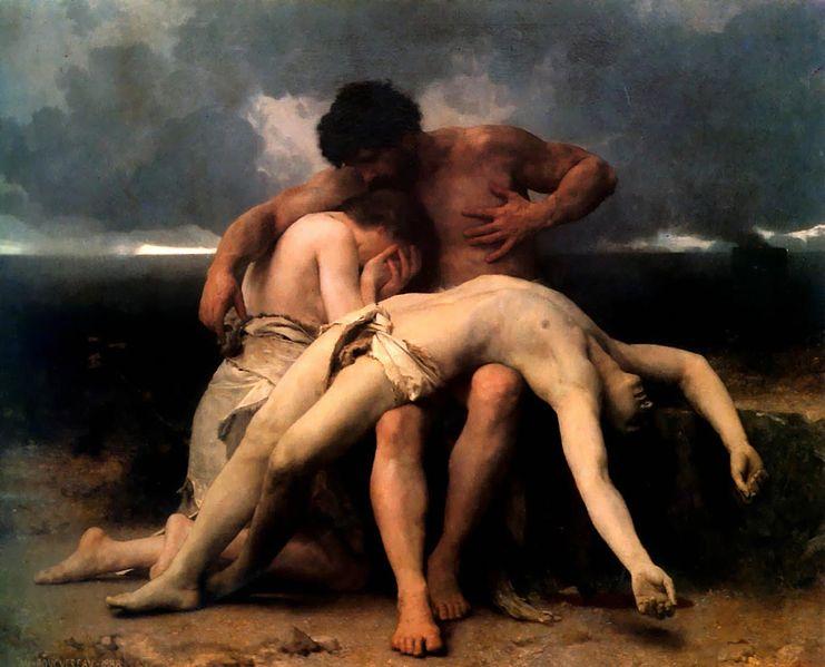 『最初の嘆き』(1888)、ウィリアム・アドルフ・ブグロー(William Adolphe Bouguereau, 1825-1905)