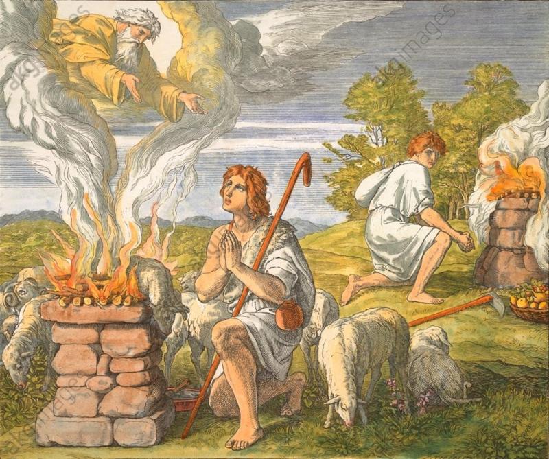 『カインとアベルの捧げ物』(Die Opfer Cains und Abels)(1860), Julius Schnorr von Carolsfeld (1794–1874)(Die Bibel in Bildern, Leipzig: Georg Wigand, 1860, Bl. 12)