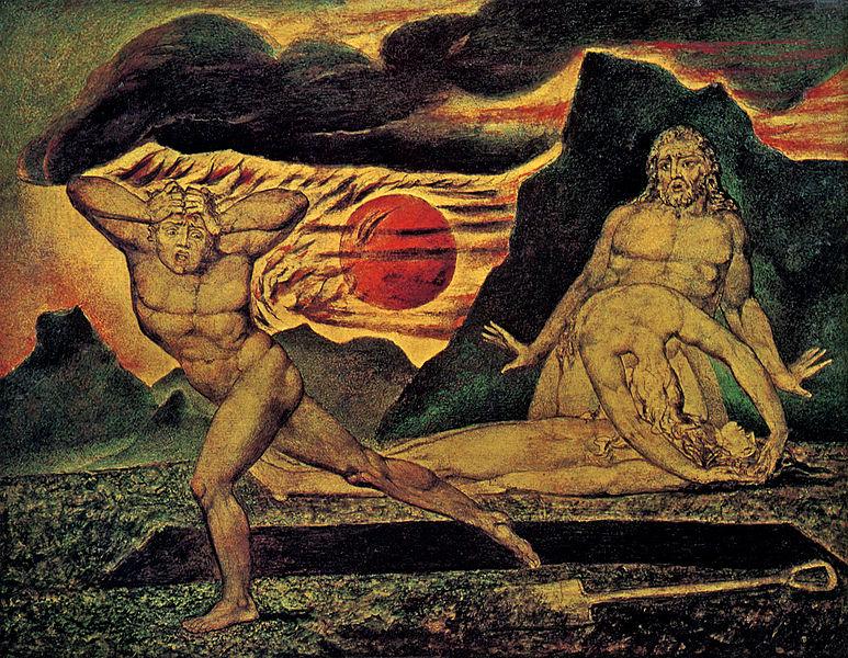 『アベルの亡骸を見つけるアダムとイヴ』(The Body of Abel Found by Adam and Eve)(1825)、ウィリアム・ブレイク