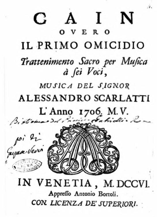 スカルラッティ カイン 最初の殺人 ヴェネツィア リブレット