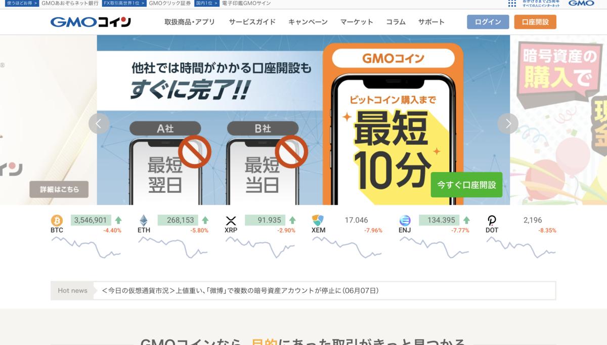 GMOコイン操作画面