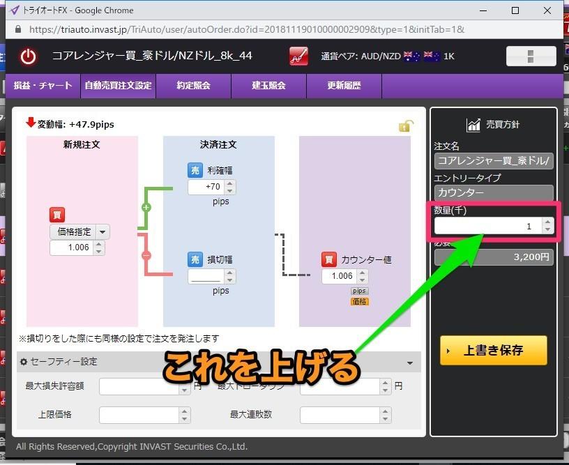 トライオートFX 自動売買注文の詳細画面