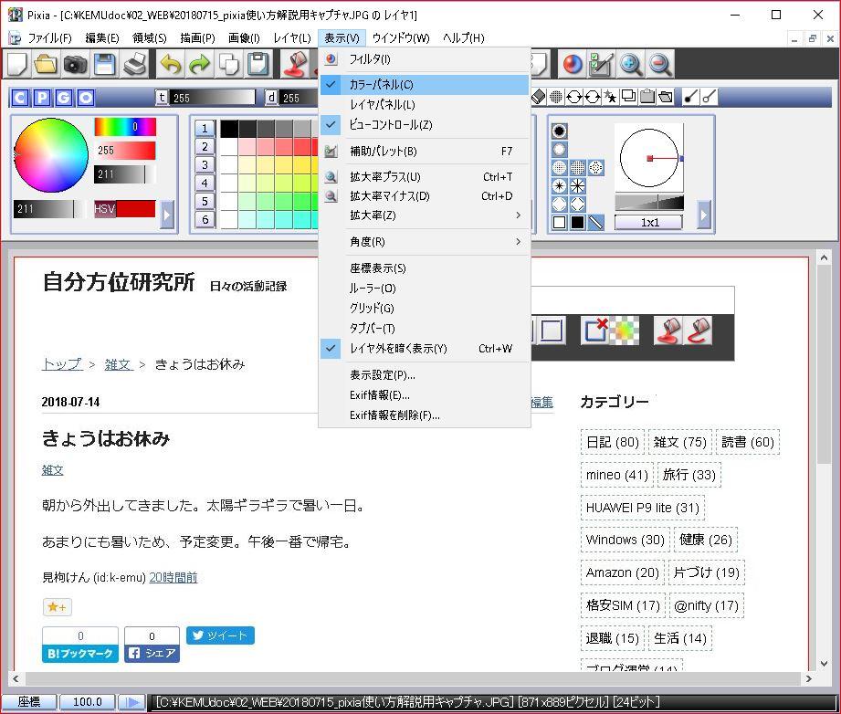 pixia ウィンドゥ上部のカラーパネルを非表示にします。