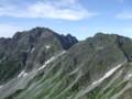 北穂高に向う山道から、奥穂高岳と涸沢岳