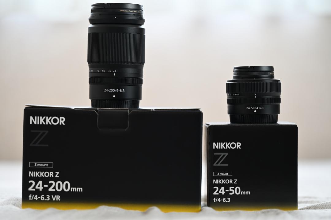 24-200mm f4-6.3レンズと、24-50mm f4-6.3レンズ。