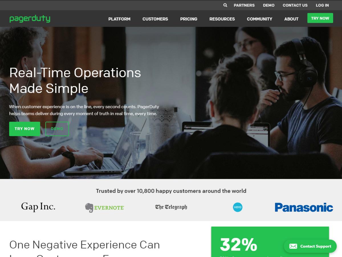 PagerDuty のトップページ