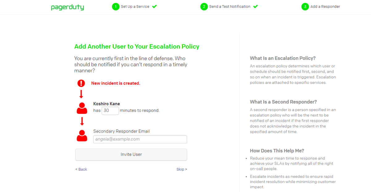 Escalation Policy のセットアップ