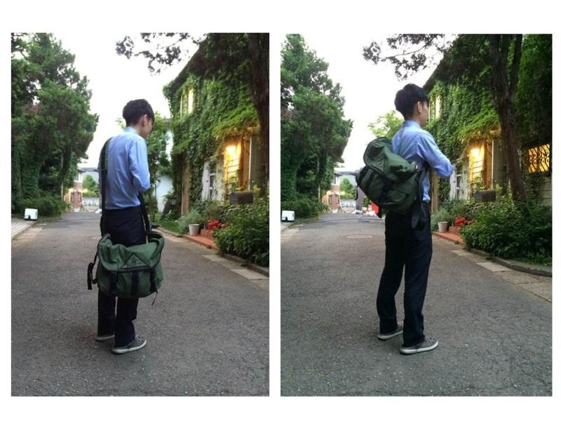 ショルダーバッグの肩紐の長さの見た目の差
