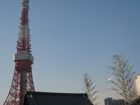 増上寺と飛行船