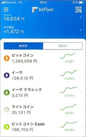 ビットフライヤーのアプリのトップ画面から、ビットコインキャッシュを選択