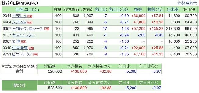 2017年1月末時点での株式投資のポートフォリオ