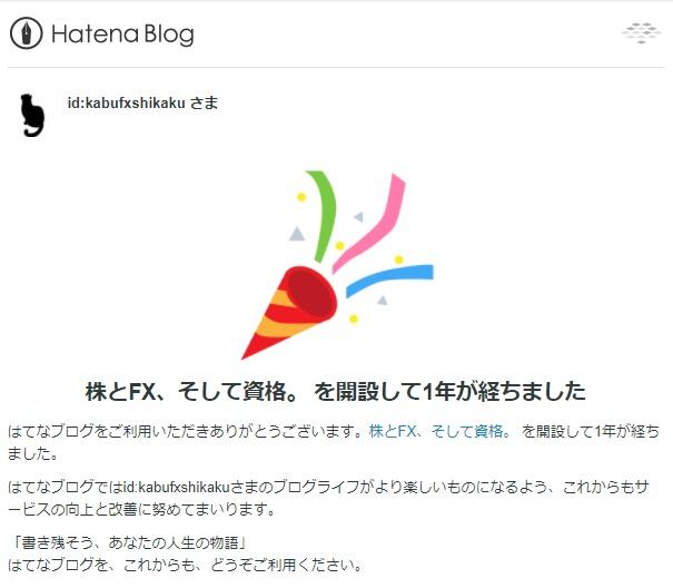 はてなブログから届いたブログ開設1周年を祝うメール