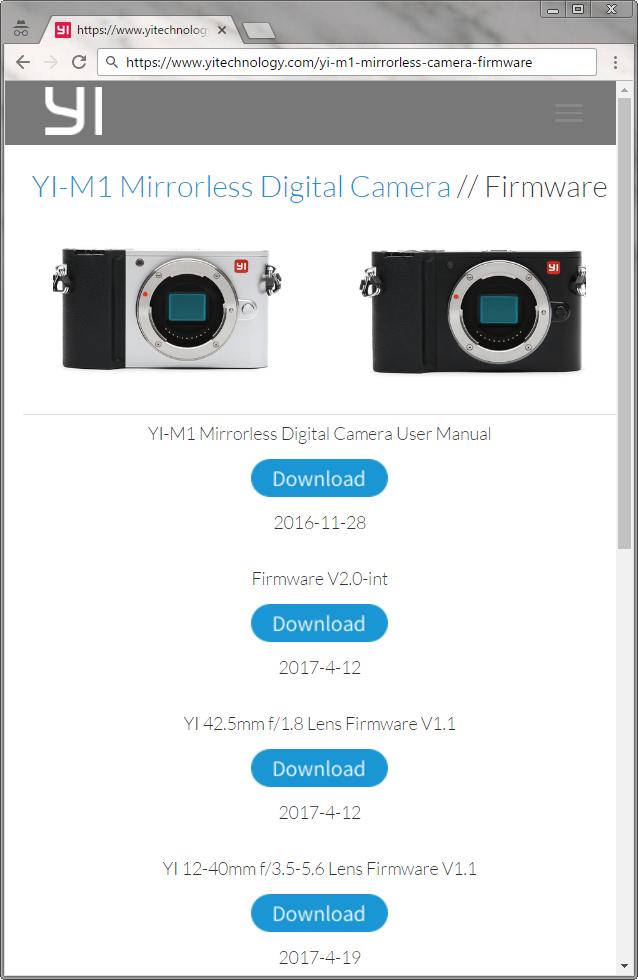 YI M1 V2.0-intダウンロードページ