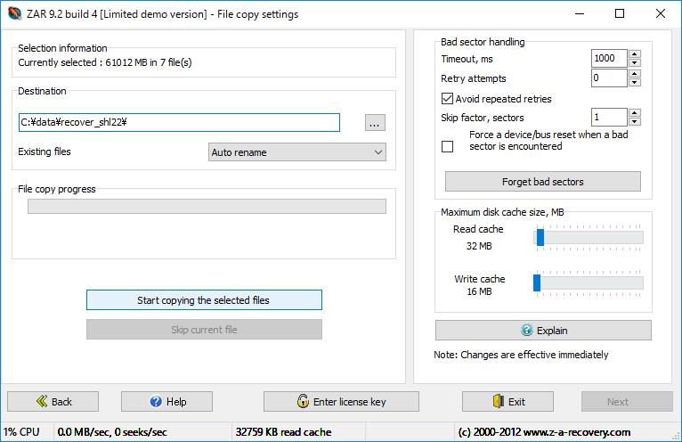 ZAR file copy setting