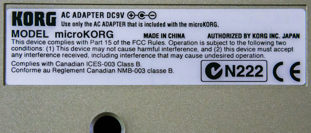 microKORG Label on bottom