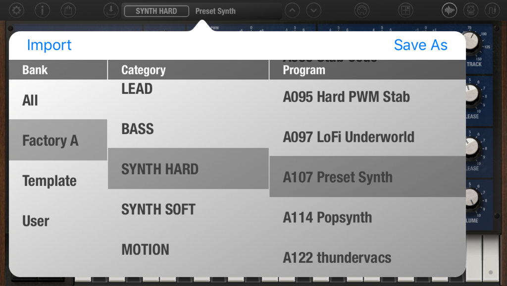 iMono/Poly Program select screen