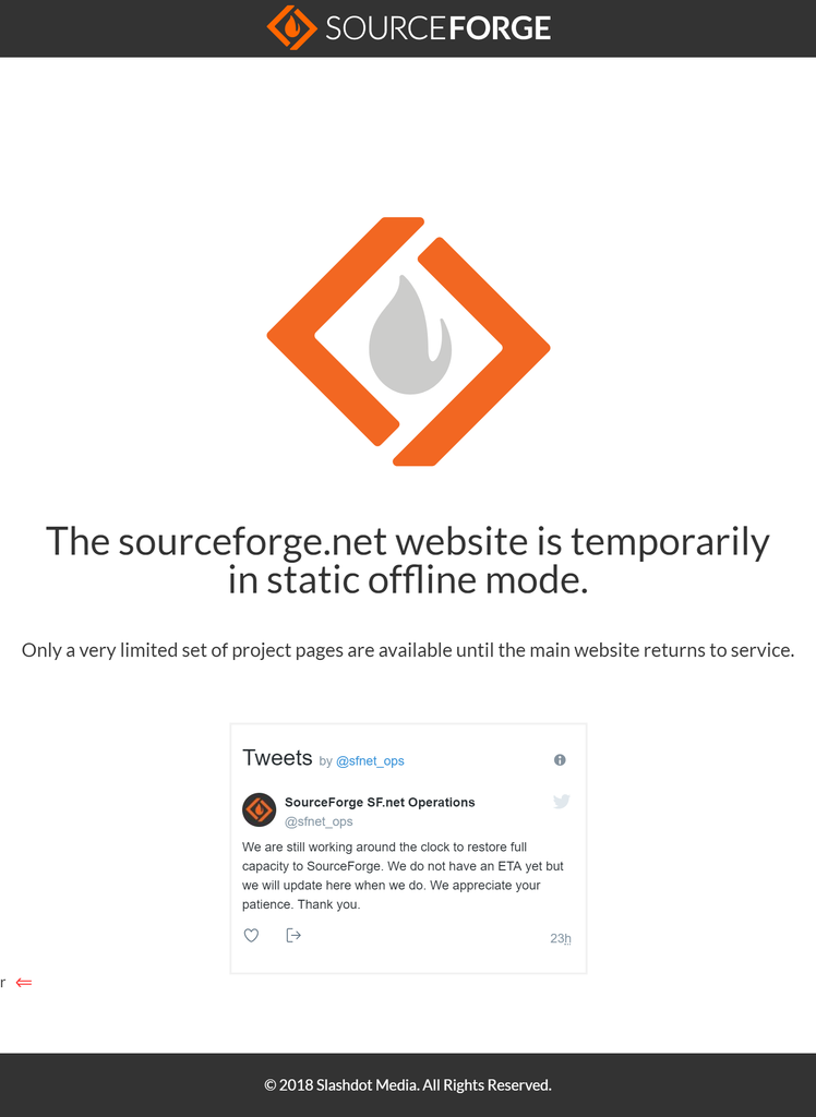 SourceForge 404 error page