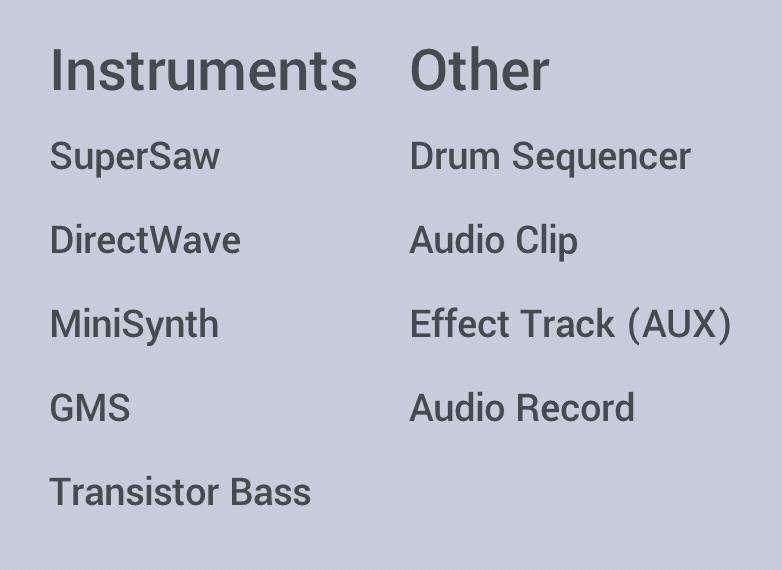 FL Studio Mobile Instruments list
