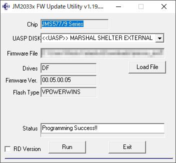 FwUpdateTool_v1_19_16_24.exe ファームウェアの書き込み成功画面