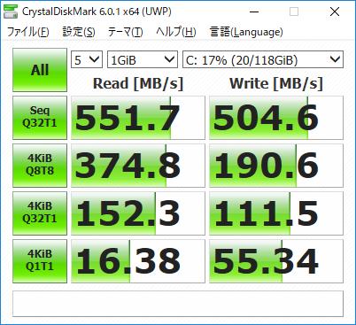 CrystalDiskMark result TOSHIBA THNSNJ128GMCT(換装前)