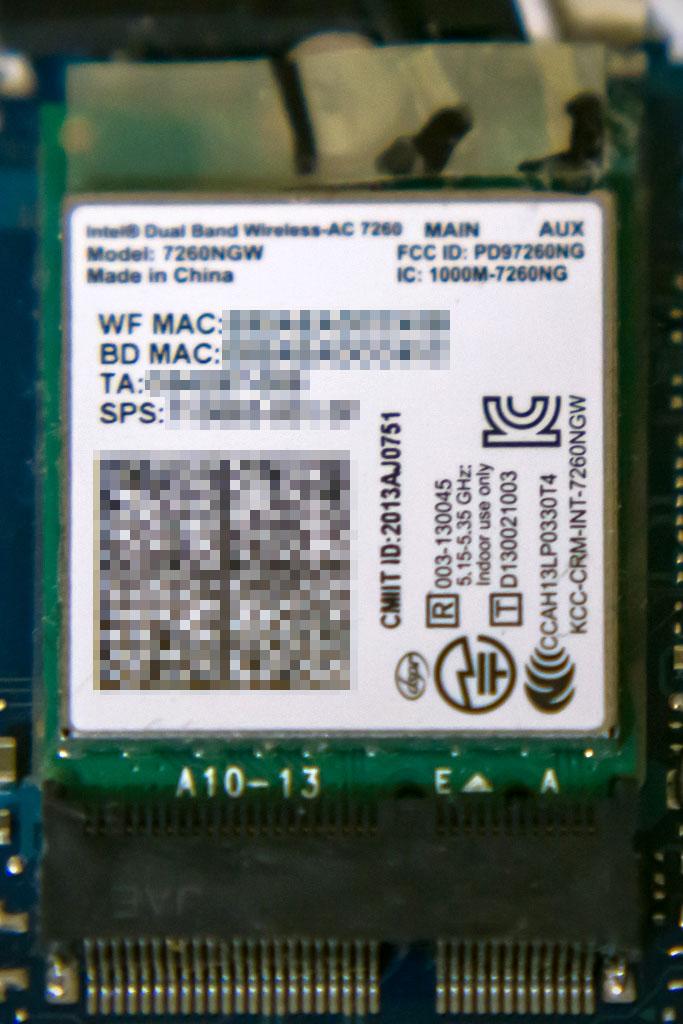 Let's note AX3 無線モジュール intel製 Dual Band Wireless-AC 7260