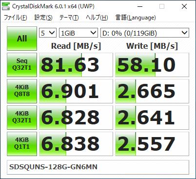 SanDisk Ultra microSDXC UHS-I 128 GB SDSQUNS-128G-GN6MN CrystalDiskMark Result