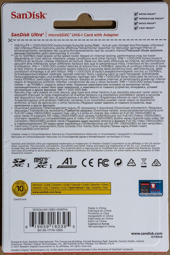 SanDisk Ultra microSDXC UHS-I 128 GB SDSQUAR-128G-GN6MA パッケージ裏面