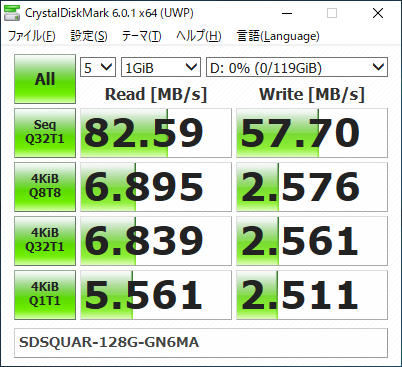 SanDisk Ultra microSDXC UHS-I 128 GB SDSQUAR-128G-GN6MA CrystalDiskMark Result