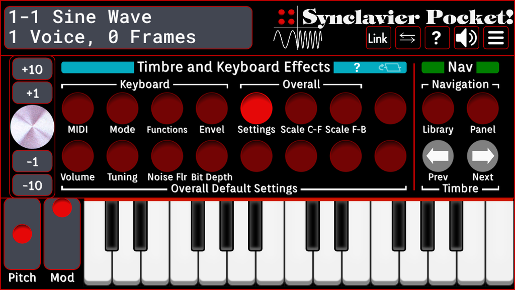 Timbre and Keyboard Effects - Settings