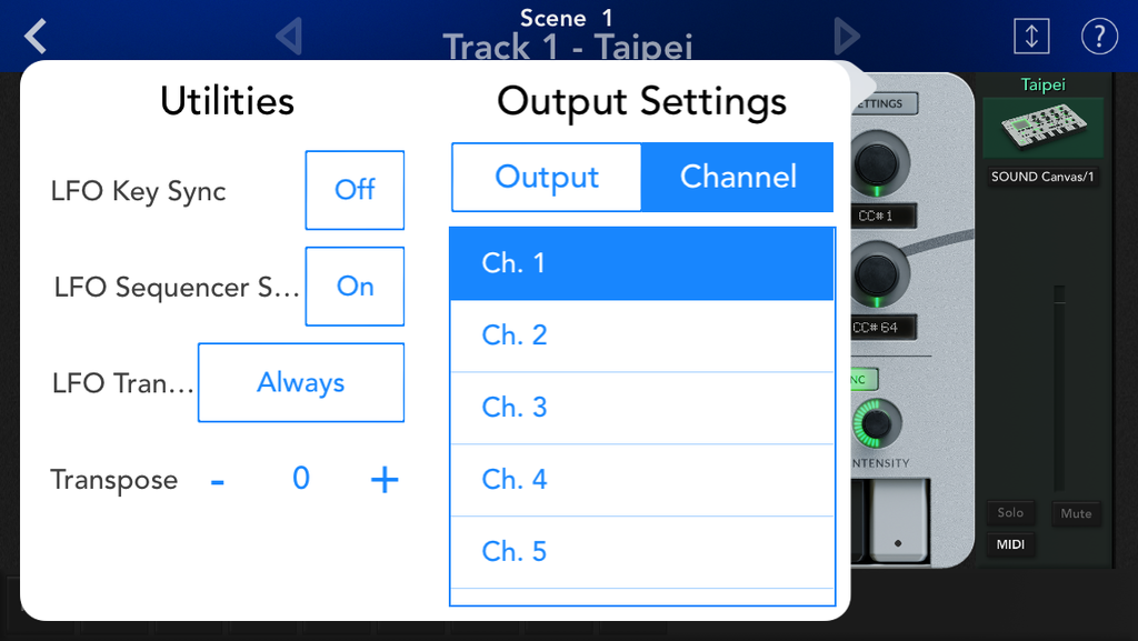 KGC2 Taipei MIDI ch settings screen