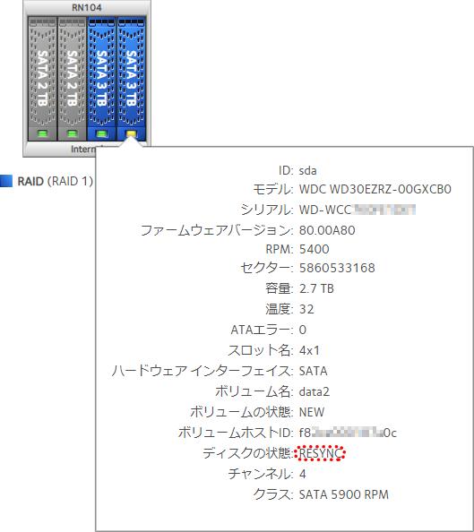 RAID再構築中のHDDの状態表示(交換した方)