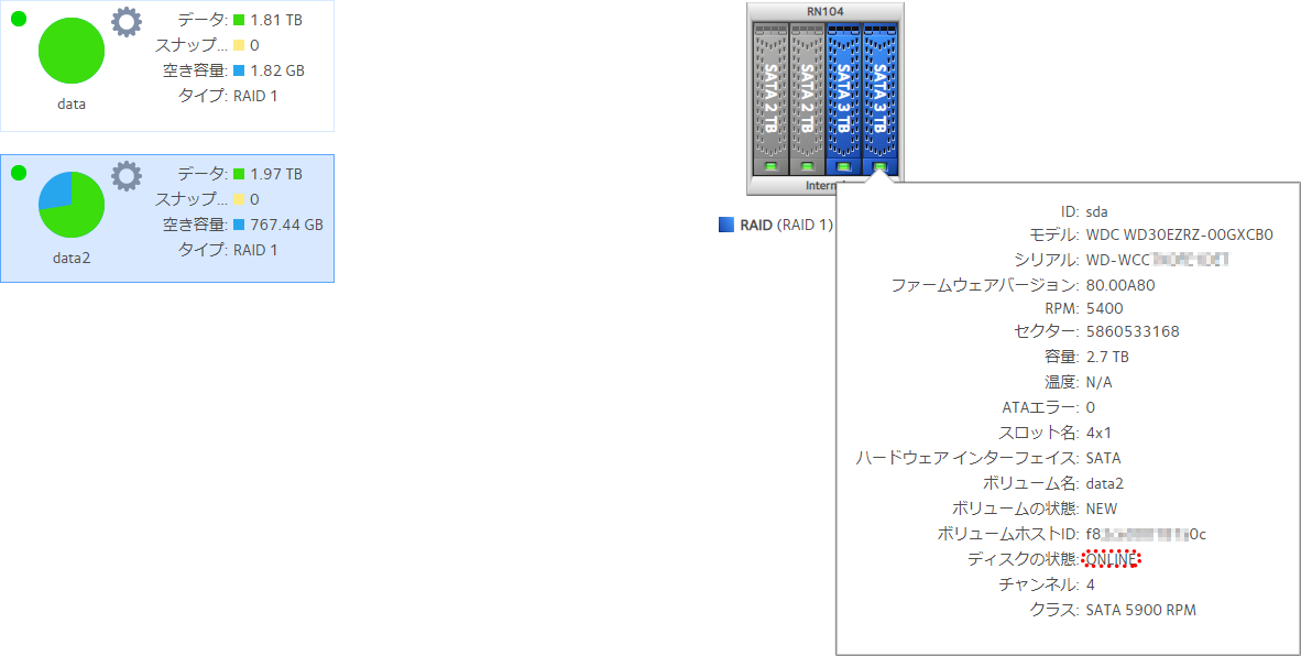 RAID再構築完了後のHDDの状態表示