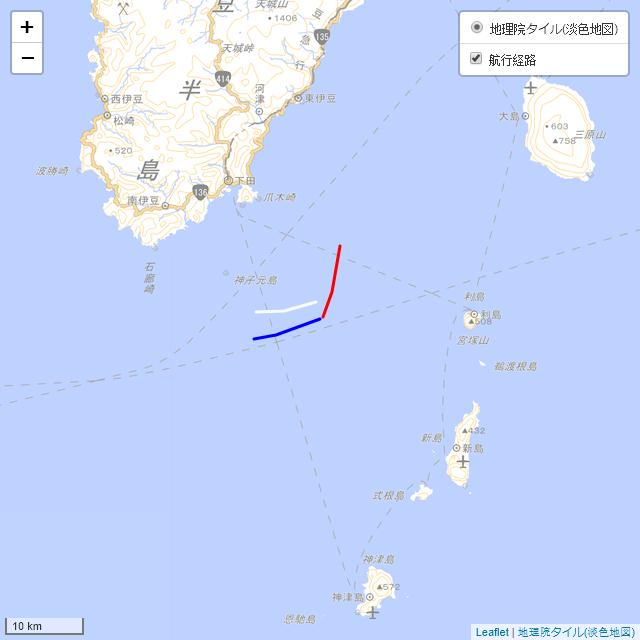事故発生直前約15分間の船舶の位置関係