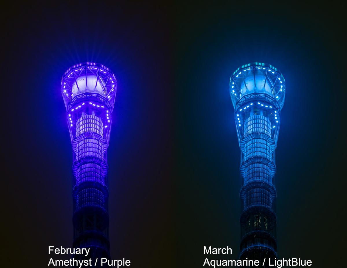 東京スカイツリー・消灯後の演出(ゲイン塔アップ2月/3月)