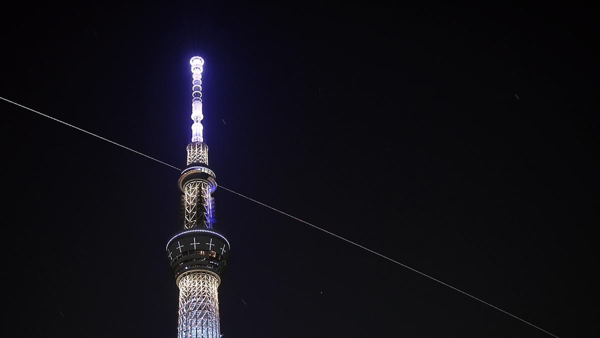 ISSの光跡と東京スカイツリー(2020/08/05)