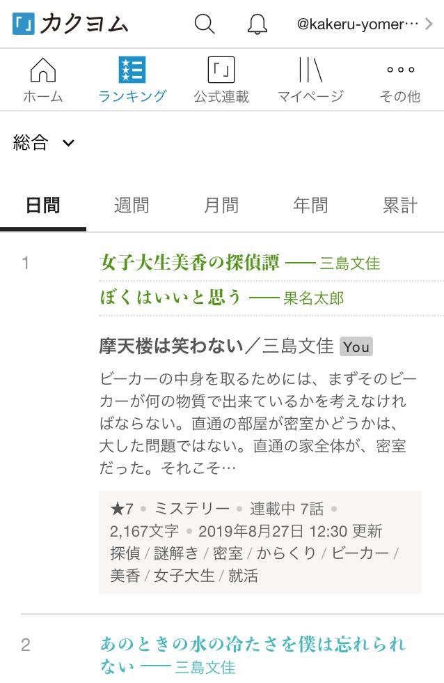 ランキング カクヨム 【タグ分析】カクヨム週間・全ジャンル・ランキング500位まで