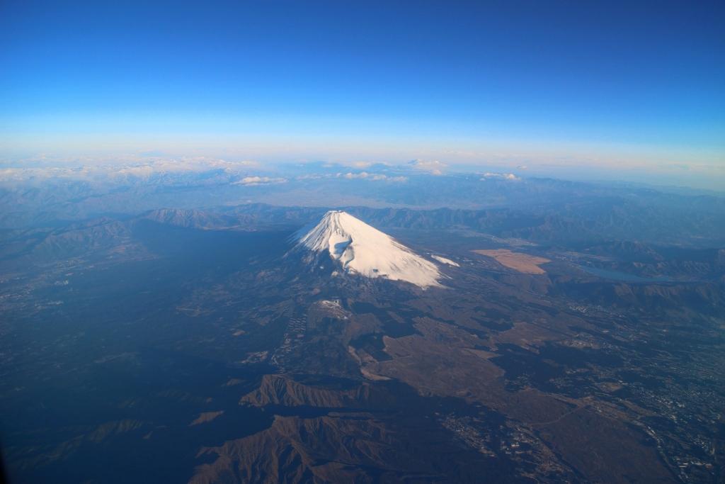 飛行機から富士山撮影