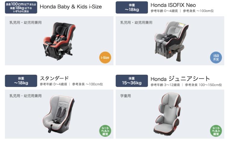 「Honda純正チャイルドシート ラインアップ(2019年3月現在)」