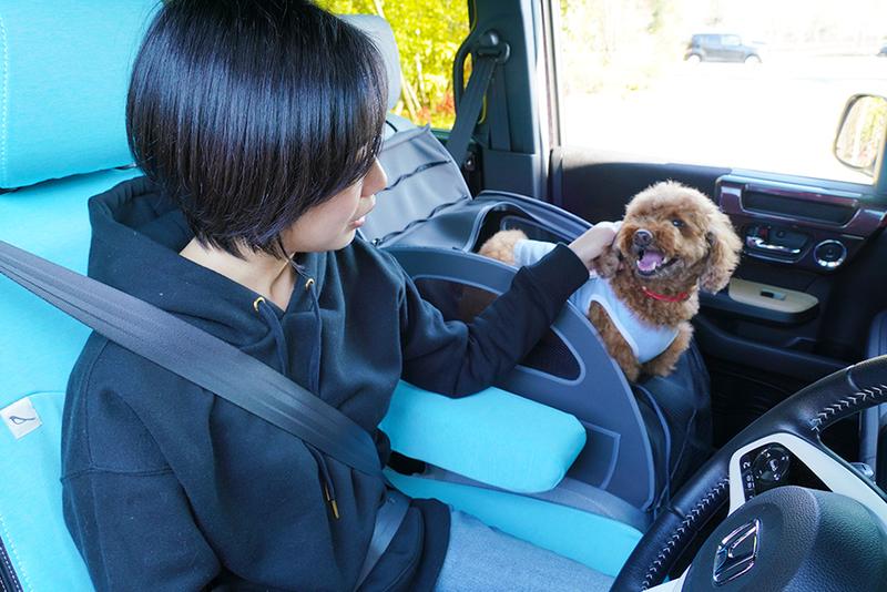 Honda EveryGoのペット用品対応車に乗るユキさんとココア君
