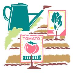 02 一白水星、家庭菜園、畑に種まきをするイメージイラスト