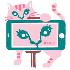 10 九紫火星の開運アクション、猫が自分の動画を撮影しているイメージラスト