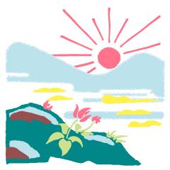 09 八白土星の開運アクション、朝日を拝むイラスト