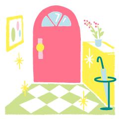 05_五黄土星の開運、玄関をきれいに掃除するイメージ