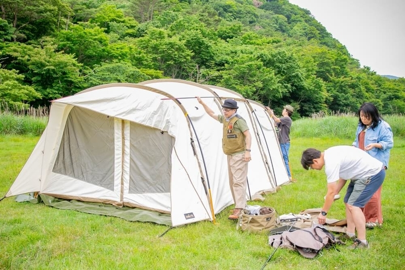 ogawaのテント アポロンT/Cの設営の様子
