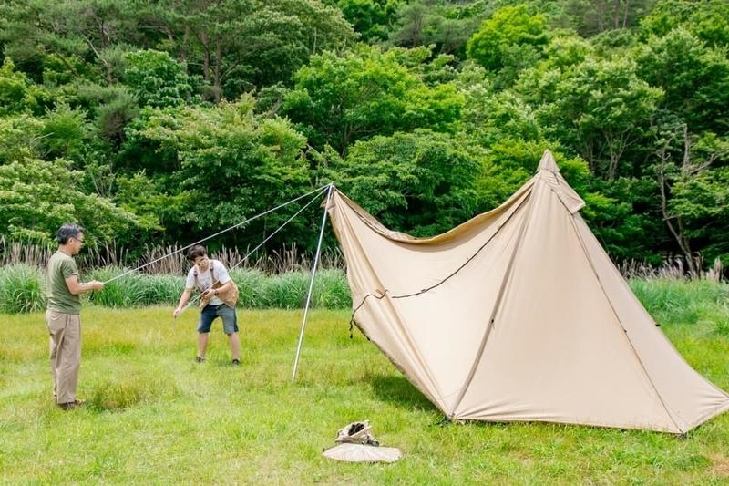 ogawaのテント タッソT/Cの設営の様子